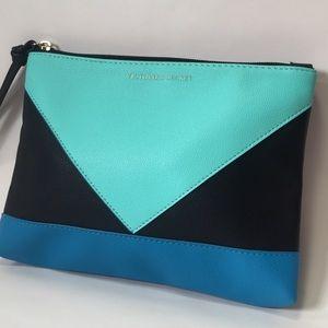 Victoria's Secret black blue colorblock clutch